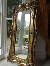 Extra Tall Antique Victorian style opulent Gold Rococo Wall hall leaner mirror