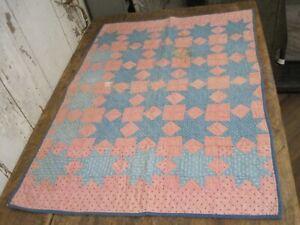 Circa 1880 Blue White Calico  Fabric Stars  Crib Quilt Hand Sewn Machine Quilted