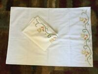 2 vintage pillowcases 22 x 30 cross stitch flowers embroidery matching
