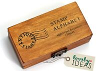 30 Stempel ABC Alphabet Großbuchstaben Set in Holz Box