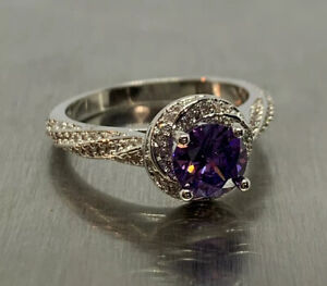 Amethyst Cubic Zirconia Accent 925 Sterling Silver Solitaire Ring Size US 6