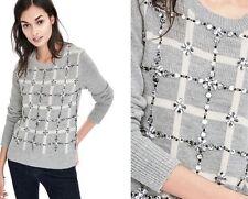 Banana Republic Women's Plaid Embellished Pullover Sequins XL Light Grey $198