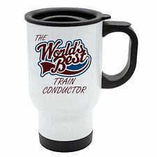 The Worlds Best Train Conductor Thermal Eco Travel Mug - White Stainless Steel