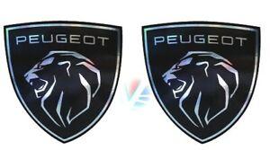 2 stickers PEUGEOT logo 2021 chrome à coller sur les ailes avant