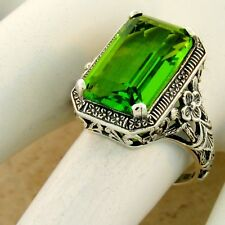 5.5 CT NOUVEAU ANTIQUE STYLE SIM PERIDOT 925 STERLING SILVER RING SIZE 9,  #1134