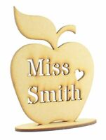 Personalised Teachers Name Wooden MDF Apple Shape on stand, Teacher Gift Sign