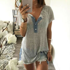 Women Loose Casual Button Blouse T Shirt Tank Tops Short Sleeves V Neck Blouse