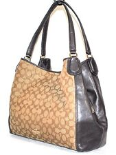 Coach Edie 31 Signature Jacquard and Leather Brown Shoulder Bag, Pre-owned $295