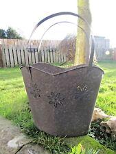 Hand Finished Handbag Metal Plant Flower Pot Bucket Holder Planter With Handles