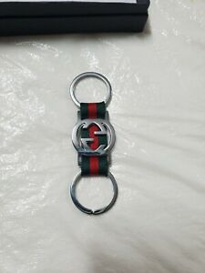 Gucci GG Logo Silver Two Toned Green/Red Key Chain/Key Ring/Charm Authentic