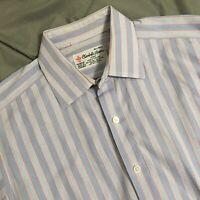 TURNBULL & ASSER White Blue Striped French Cuffs Dress Shirt 16 1/2