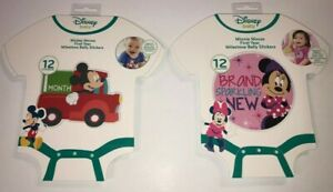 Disney Baby Minnie or Mickey Mouse First Year Milestone Memory Belly 12 Stickers