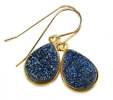 Peacock Blue Druzy Earrings Bezel Set 14k Gold Filled Teardrop Drusy Druse Drops