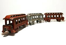 Early 20Th C Vint 3 Pc Cast Iron Red/Silver Painted Passenger Coach Train Cars