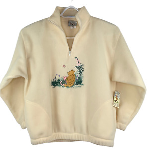 Disney Classic Pooh Womens 1/4 Zip Fleece Embroidered Pullover NWT L USA Made