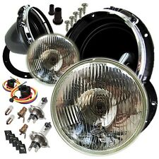 "Classic Land Rover 7"" Sealed Beam Halogen Conversion Headlight Lamp Kit & Bowls"