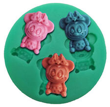 Baby Minnie Mouse 3 Cavity Silicone Mold Fondant, Gum Paste, Chocolate, Crafts