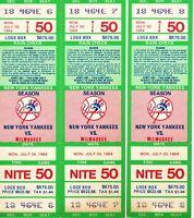 1984 N.Y. YANKEES vs MILWAUKEE *BASEBALL*(3)*TICKET STUBS