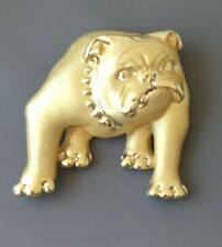 brooch in gold tone metal Vintage signed Ajc bull dog