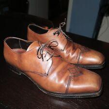 PRADA Brown Burnished Derby Oxford Dress Shoe Sz 7.5 = 8.5us
