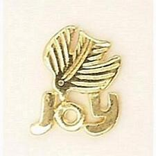 """Christmas """"Joy"""" and Dove Lapel  Hat Tie Pin - Gold Plated, Made in USA"""