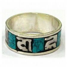 Nepal 925 Silver Plated Turquoise Gemstone Inlay Spaced OM Mani Padme Hum Ring