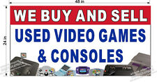 2' x 4' VINYL BANNER WE BUY AND SELL USED VIDEO GAMES CONSOLES NINTENDO STYLE