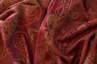 Wool Jamawar  India Shawl, Wrap Festive Colors Jamavar  Red & Burgundy Paisely