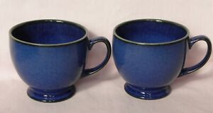 Denby Stoneware 2x Metz Cups, Footed, Blue wth Green highlights, 8cm tall, Lot B