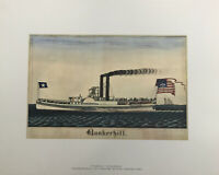 Steamboat BunkerHill By Frederick Huge 1838 American Primitive Watercolor.