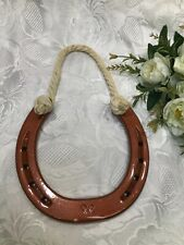 REAL HORSESHOE RUSTIC SHIRE CART HORSE BRONZE LACQUERED with HANGING ROPE