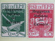 1920 mint 5c and 10c Fiume overprinted stamps, # 131 & 134
