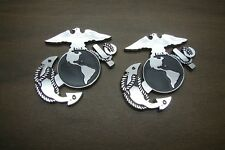 (2) USMC 3D ABS CHROME FINISH DECAL EMBLEM MARINE CORPS SEMPER FI MARINES