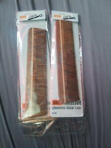 Conair Man 100% Wood Handmade Dressing combes Lot of 2 NEW HB