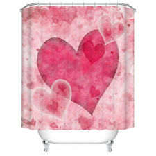 Pink Love Heart Valentines Shower Curtain Set Polyester Bath Curtains 12 Hooks