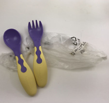 Tupperware Toddler / Baby Soft Fork / Spoon Feeding Set Tiwi Blue & Yellow New