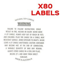80 Soy Candle Warning / Safety Labels 40mm