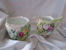T & V Limoges France sugar & creamer set pink yellow roses antique