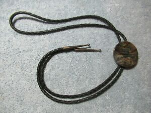 Mother-of-Pearl BOLO TIE with Braided Leather Aiguillettes with Metal Tips