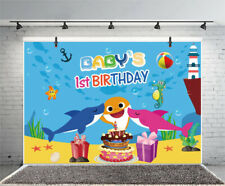 7x5ft Baby 1st Birthday Shark Backdrop Studio Background Photography Props Show