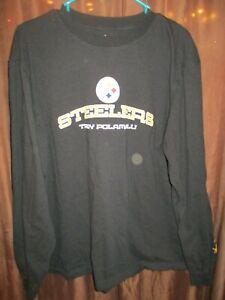 NFL Team Apparel Long Sleeve Pittsburgh Steelers Troy Polamalu Shirt Size XL