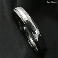 6mm Dome Black edge Tungsten Ring Silver center Wedding Band Bridal mens Jewelry