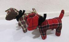 (2) Chestnut Lane Tartan Plaid Dog Ornaments