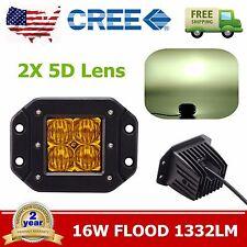 2X 16W 5D Yellow Flood CREE LED Cube Pods Flush Mount Driving Work Fog Lights