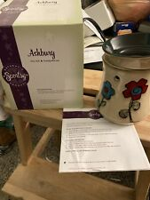 """Scentsy """"ASHBURY"""" 🌺Full-Size Ceramic Red Flowers Wax Warmer - Retired"""