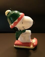 Vintage Peanuts Snoopy on a Sled Willitts Ceramic Ornament