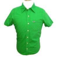 HOLLISTER Men's (Size Small) Solid Green Short Sleeve Button Front Shirt Cotton
