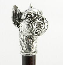 Maniglia cane boxer bastone per camminare in legno e peltro massiccio