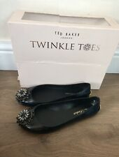 """Ted BAKER Flat Ballet Pumps """" An isles"""" Uk 4 Jewel Soft Worn Once In Box"""