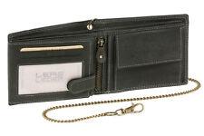 Geldbörse Portmonee Portemonnaie mit Kette LEAS MCL Vintage Echt-Leder, schwarz